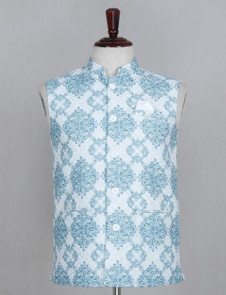 Blue printed cotton waistcoat for parties