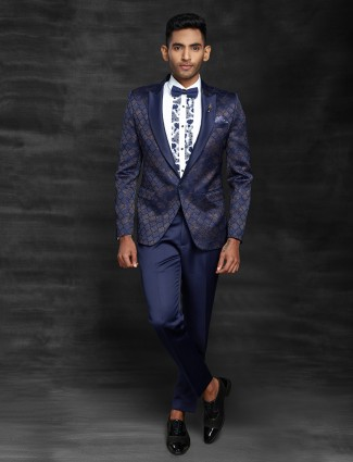 Blue printed party function coat suit
