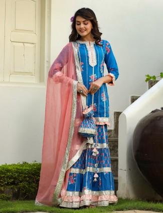 Blue printed punjabi style cotton festive special sharara suit
