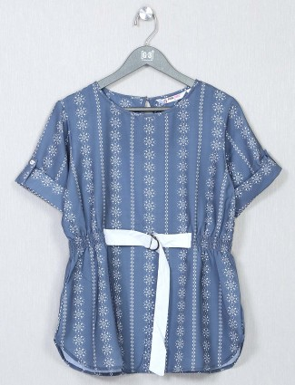 Blue printed top for women in cotton