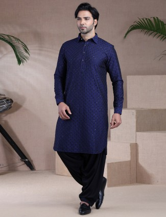 Blue raw silk mens pathani suit