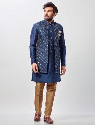 Blue raw silk wedding wear semi indo western