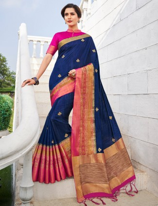 Blue saree with the red blouse piece