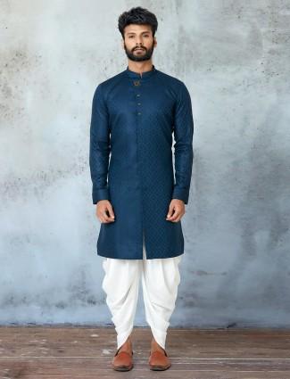 Blue shade festive wear kurta with dhoti