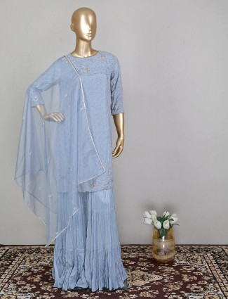 Blue sharara wedding event suit for amazing lady