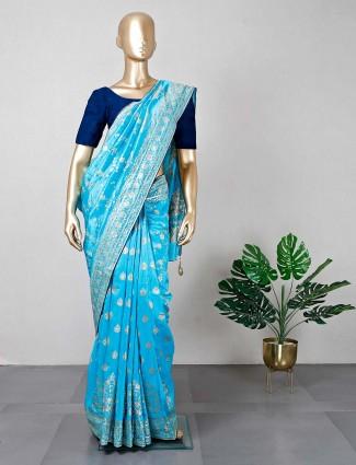 Blue silk festive wear sari for women