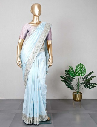 Blue silk saree for wedding days