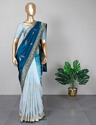 Blue silk saree for women
