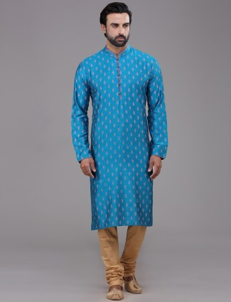 Blue silk stand collar printed kurta suit