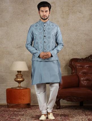 Blue silk waistcoat set for mens