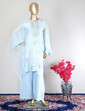 Blue silk wedding wear palazzo suit