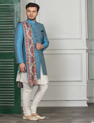 Blue solid double layer indo western for party function