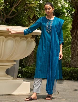 Blue stripe cotton punjabi style pant suit for festives