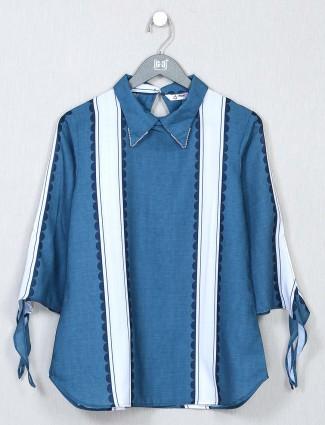 Blue striped casual wear cotton top