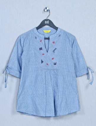 Blue western top for women in cotton