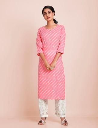Blush pink cotton festive wear punjabi style pant suit