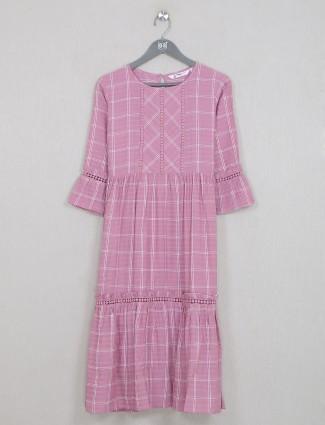 Blush pink gallant casual wear kurti in cotton