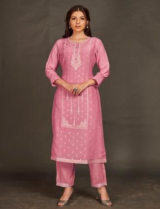 Blush pink hue punjabi pant set for festive sessions