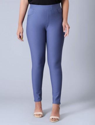 Boom blue cotton slim fit jeggings