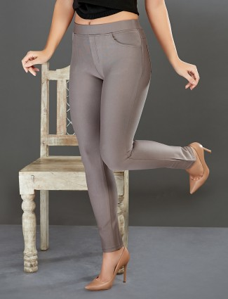 Boom cement grey slim fit jeggings in cotton
