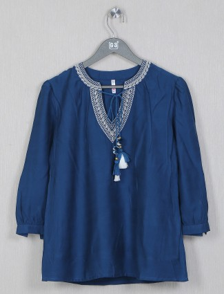 Boom cotton top for casual style in blue hue