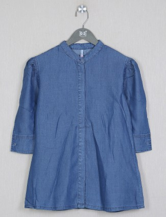 Boom denim solid style blue shade top for women