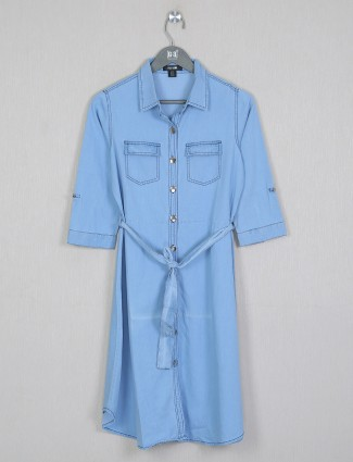 Knee-length top in denim light blue shade
