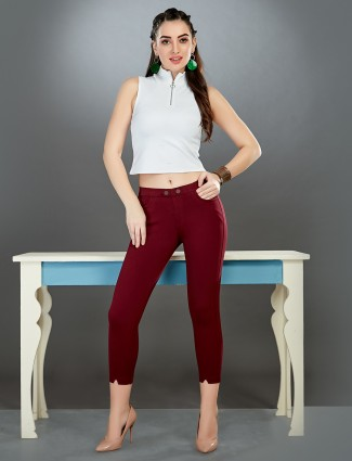 Boom maroon cotton jeggings for casual wear