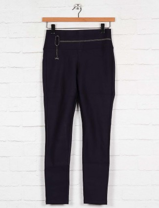 Boom navy blue cotton casual jeggings
