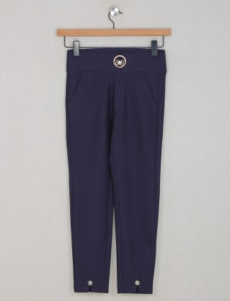 Boom navy hue casual style jeggings in cotton