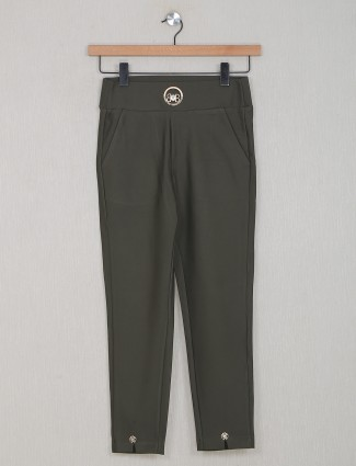 Boom olive green casual look jeggings in cotton
