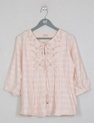 Boom peach shade top for women in cotton