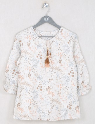 Boom presented cream printed top in cotton