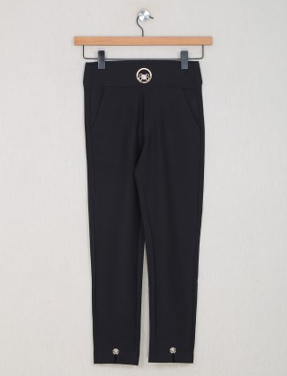 Boom presented solid casual black cotton jeggings