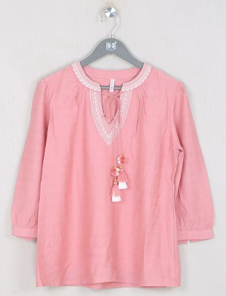 Boom presented solid style pink top in cotton