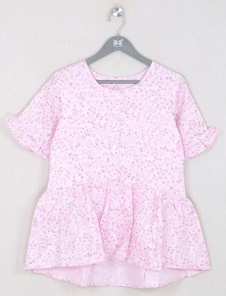 Boom printed pink casual cotton top for women