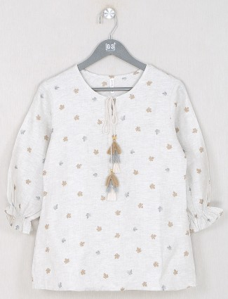 Boom printed style cream shande top for women