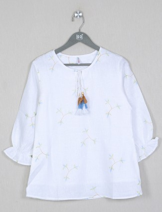 Boom printed style top in white shade