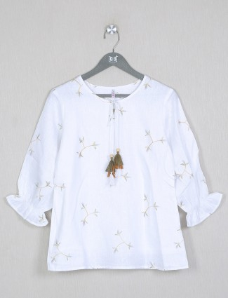 Boom printed white top in cotton for women