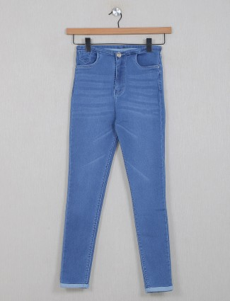 Boom solid light blue jeans for women
