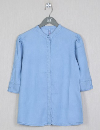 Boom solid style blue denim top for casual look