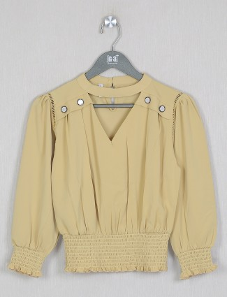 Boom solid style ochre yellow shade top for women