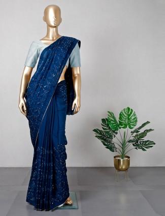 blue colour festive wear womens saree