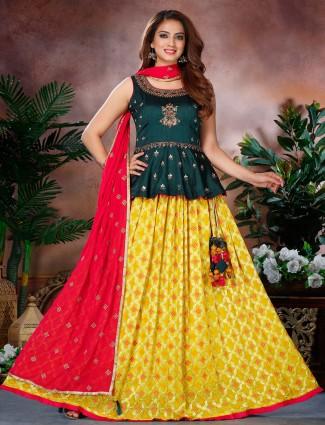 Bottle green and yellow designer lehenga choli for women