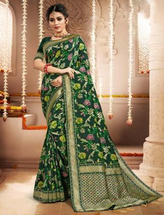 Bottle green banarasi silk saree for wedding session