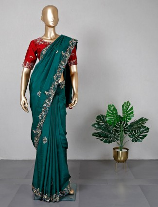 Bottle green cotton silk saree for women with ready made blouse