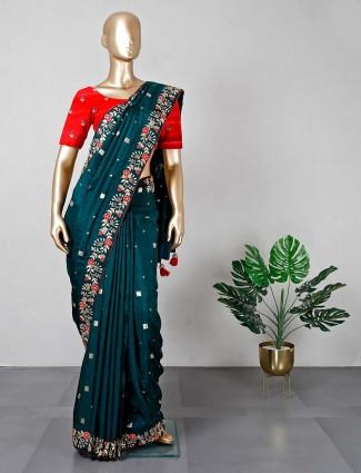 Bottle green cotton silk wedding saree