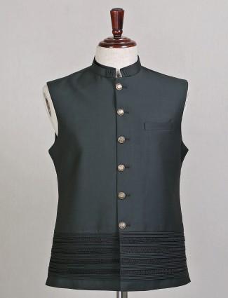 Bottle green designer party wear waistcoat in terry rayon