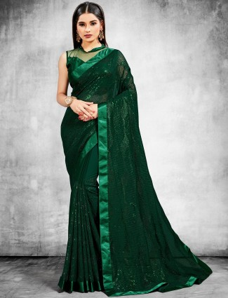Bottle green party look georgette saree