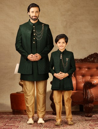 Bottle green raw silk indo western for father and son
